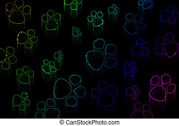 Neon animal tracks on a black background