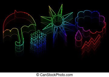 Neon weather symbols on a black background