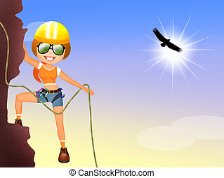 girl climber - illustration of girl climber