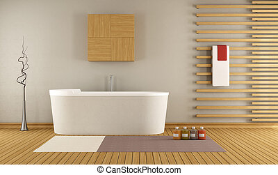 modern bathroom with wooden decorative elements - 3D...