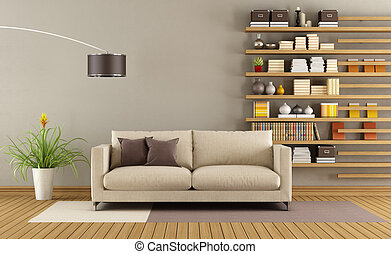 Contemporary living room with sofa and minimalist bookcase -...