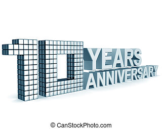 10 years anniversary word 3d illustration isolated