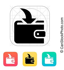 Incoming payment in wallet icon on white background Vector...