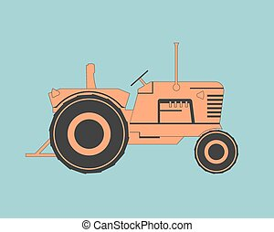 Farm tractor isolated on background. Vector illustration.