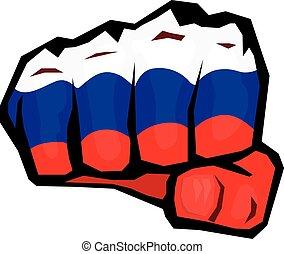 vetorial, punho, icon., punho, colorido, em, russo,...