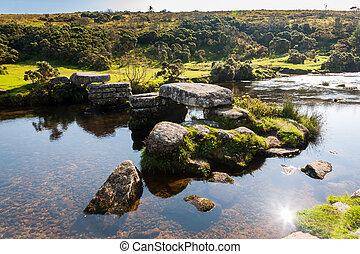 Bellever Dartmoor Devon - Bellever clapper bridge Dartmoor...