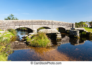 Bellever Dartmoor Devon - Bellever clapper bridge Dartmoor...