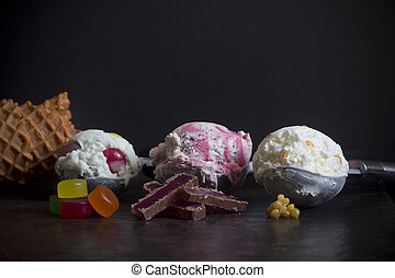 New Zealand Ice Cream Flavors, Hokey Pokey, Goodie Gum Drops and Jelly Tip - Selective Focus