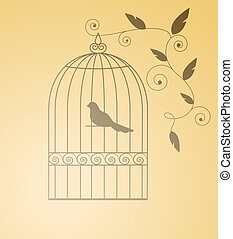 Siluet bird in a cage. Isolated. EPS 8, AI, JPEG