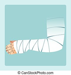 Bandaged hand after fracture or injury. Medicine and health