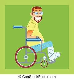 broken leg trauma patient wheelchair - A broken leg. A...