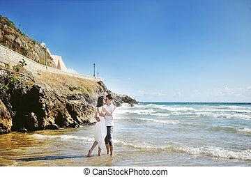 italia, sposo, sposa, matrimonio, Baciare, spiaggia, giorno