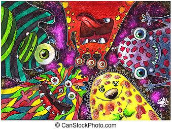 diferente, caracteres, Monstruos, microbios, aliens.,