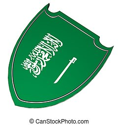 Saudi Arabia shield - Saudi Arabia flag over shield,...
