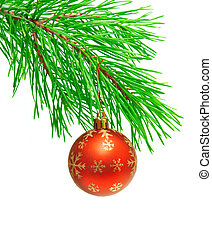 Christmas ornament on a branch of a pine