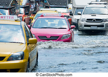 Flooded street in Bangkok, Thailand during the monsoon...