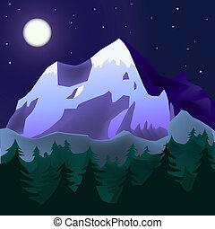 mountins landscape - mountain landscape in moon light