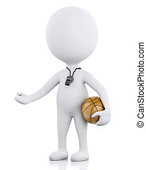 3d white basketball coach with ball. - 3d renderer image....