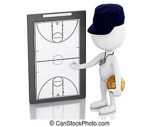 3d white people coach with Basketball Clipboard. - 3d...