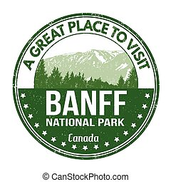 Banff national park stamp - Banff national park grunge...