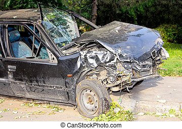 Head on impact - Fatal car accident with head on collision