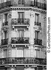 Traditional Facade in Paris. Black & White