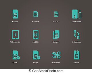 Set of mini, micro and nano simcard icons set Vector...