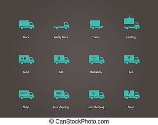 Delivery and cargo truck icons set.