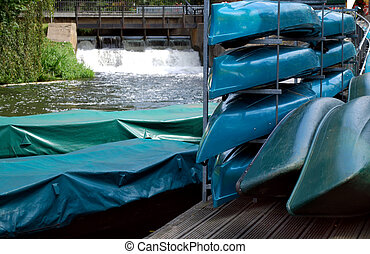 """many stacked rental boats in \""""spreewald\"""" area, germany"""