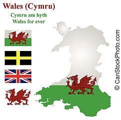 Welsh Flag - Flag and national emblem of Wales overlaid on...