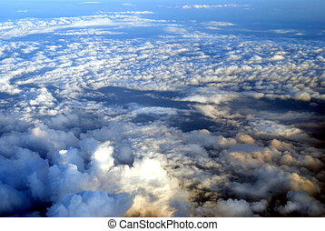 view from an aircraft on beautiful clouds in the evening...