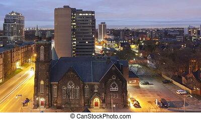 Time lapse sunrise Toronto Church - Time lapse sunrise...
