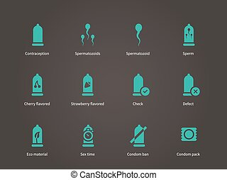 Contraception icons. Vector illustration.