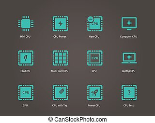 Central Processing Uunit, CPU icons set.