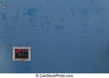 detalhe, de, Um, Janela, ligado, Um, coloridos, parede, em,...