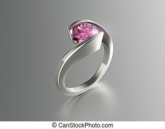 Ring with Diamond Jewelry background Amethyst - Ring with...