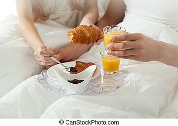 Breakfast in bed at hotel