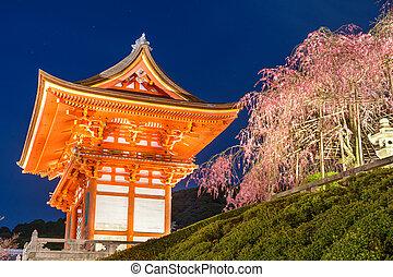 Kyoto, japón, en, Kiyomizu-dera, principal, puerta,