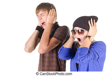 young couple (man and woman) screaming.