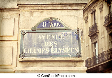 street name sign - avenue des champs-elysees, one of the...
