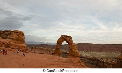 Time lapse zoom out Delicate Arch - Time lapse zoom out of...