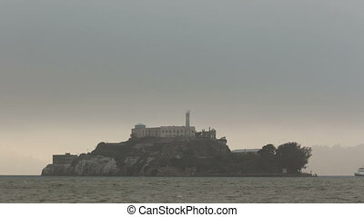 Time lapse zoom out Alcatraz Island - Time lapse zoom out of...