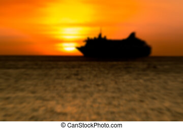silhouette boat at sunset, Motion blurr