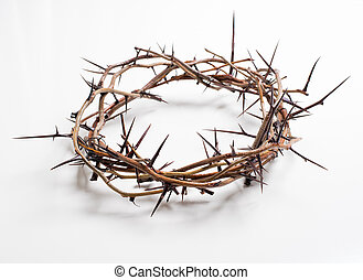 A crown of thorns on a white background - Easter religion -...