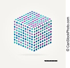 Three-dimensional cube of colored dots