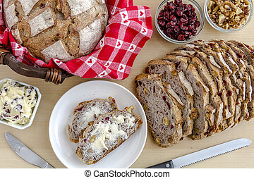 Fresh Baked Cranberry Walnut Bread - Walnut and cranberry...