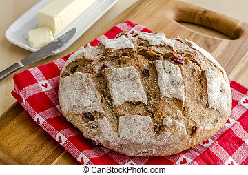 Fresh Baked Cranberry Walnut Bread - Whole loaf of walnut...