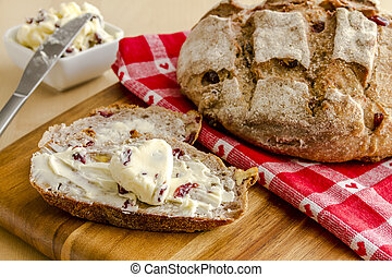 Fresh Baked Cranberry Walnut Bread - Whole loaf of walnut...