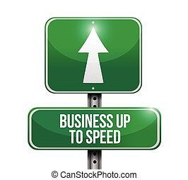 business up to speed road sign illustration