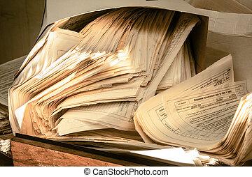 vieze, verward, Papier, documenten,